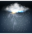 Cloud with rain and a lightning bolt vector image vector image