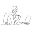 continuous line drawing of businessman working vector image vector image