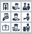 customs icons set vector image vector image