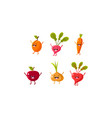 cute fruit and vegetables characters set apricot vector image vector image