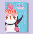 cute penguin happy merry christmas vector image