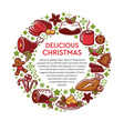 delicious christmas traditional dishes vector image