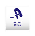 diving sport symbol stickman solid icon vector image