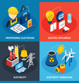 electricity isometric 3d icon set vector image vector image