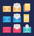 envelope email and letter icons postal vector image vector image