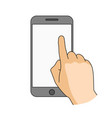 finger touch blank smartphone screen modern vector image