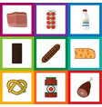 flat icon eating set of beef smoked sausage vector image vector image