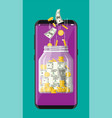 glass jar full money on smartphone vector image vector image