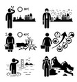 Global warming greenhouse effects stick figure