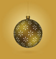 golden christmass ball with snowflakes print vector image