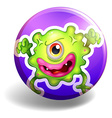 Green monster on purple badge vector image vector image