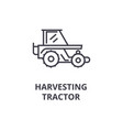 harvesting tractor line icon outline sign linear vector image vector image