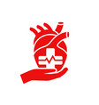 heart care medical flat icon vector image vector image