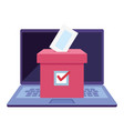 laptop computer for vote online with ballot box vector image vector image