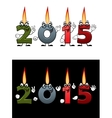 Lighted candle numbers 2015 vector image vector image