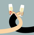 Man and woman drink wine Mens hand and a glass of vector image vector image