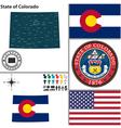 map colorado with seal vector image vector image