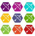 medieval bow and arrow icons set 9 vector image vector image