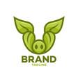 modern leaf pig logo vector image vector image