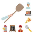 pizza and pizzeria cartoon icons in set collection vector image