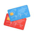 red and blue credit cards vector image vector image