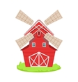 Red Wooden Windmill Cartoon Farm Related Element vector image vector image