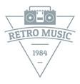 retro music logo simple gray style vector image vector image