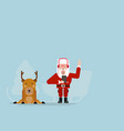 Santa claus listening music with deer