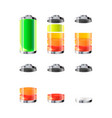 set battery icons with different charge level vector image vector image