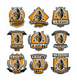 set colorful logos emblems face bearded vector image