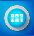 set of six dices icon isolated on blue background vector image vector image