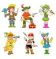 set pirate child cartoon vector image