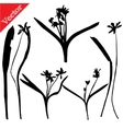 Set with wild flowers silhouettes isolated on vector image