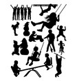 silhouette children vector image