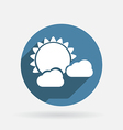 sun behind the cloud Circle blue icon with shadow vector image