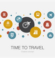 time to travel trendy circle template with simple vector image vector image