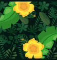 tropical leaves flowers foliage dark background vector image vector image