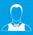 waiter icon white vector image