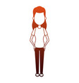 young woman cartoon on red lines vector image