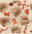seamless pattern with vintage ribbons and boxes vector image