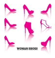 Set of woman shoes silhouettes with reflections vector image