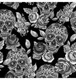 Skull and Flowers Monochrome Seamless Background vector image