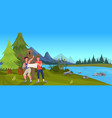 bear attacking tourist men hold map forest vector image