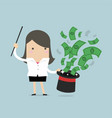 businesswoman holding a magic stick vector image vector image