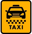 cab car silhouette on yellow taxi icon vector image vector image