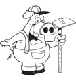 Cartoon pig wearing overhauls and holding a hoe vector image vector image