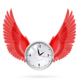 Clock and red wings vector image vector image
