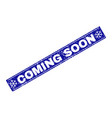 coming soon scratched rectangle stamp seal with vector image vector image