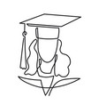 continuous line drawing of graduation student vector image