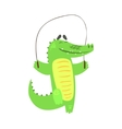 Crocodile Jumping Skipping Rope Humanized Green vector image vector image